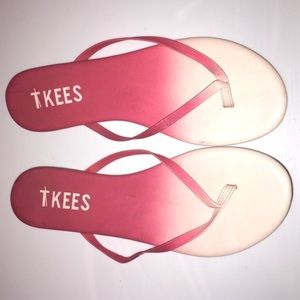Tkees hot pink light pink ombré thin sandals
